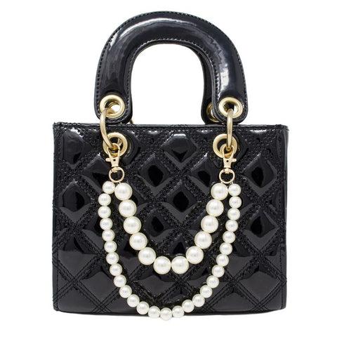Jumbo Quilted Black Leather Bag
