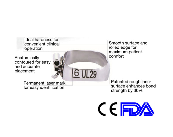 Bands (1st Molar Maxillary) Triple Tube, Nonconvertible, Lingual Cleat $1.99/Band