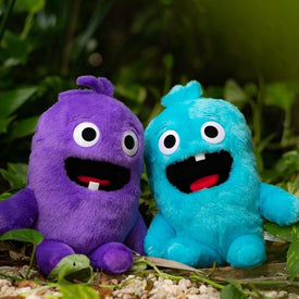 toothless monsters blue and purple plush toys with teeth for tooth fairy tradition