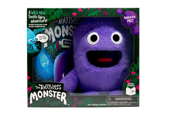 The Toothless Monster boxed set with book and purple Meli doll. A wild tooth fairy tradition.