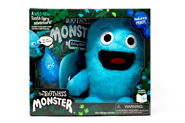 The Toothless Monster boxed set with book and blue Monte doll. A wild tooth fairy tradition.