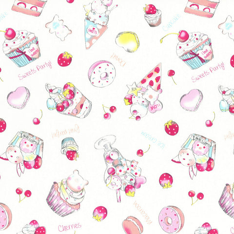 White Ice Cream & Sweets Cotton Oxford
