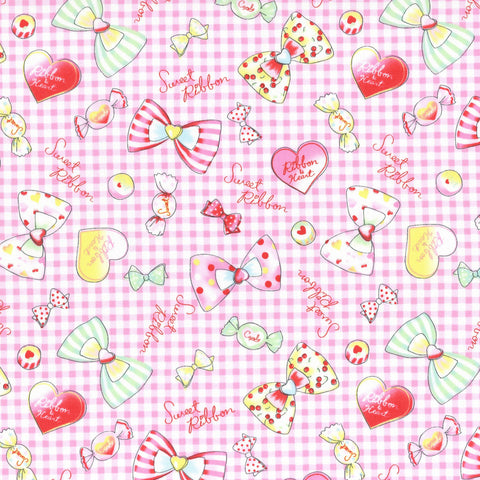 Pink Sweet Ribbons & Bows Cotton Oxford Fabric