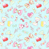Light Teal Sweet Ribbons & Bows Cotton Oxford Fabric
