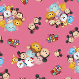 Disney Tsum Tsum group tossed Pink Fabric