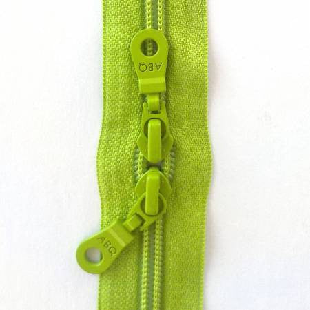 "Lime Green Double Pull 30"" Zipper"