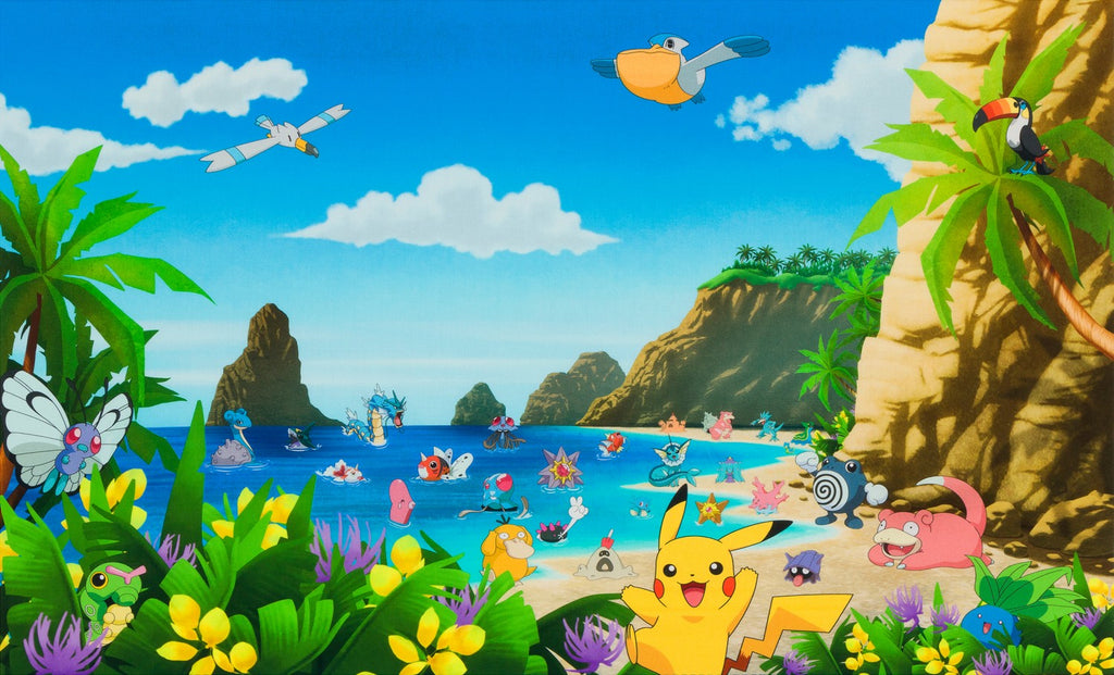 Pokemon Beach scene Panel Fabric