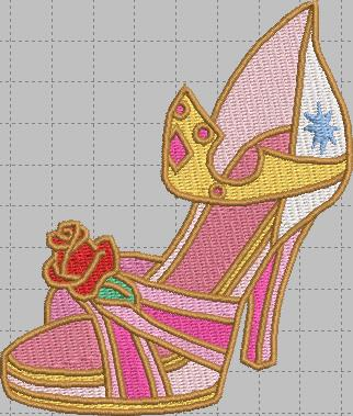 Sleeping Beauty pink Shoe Digital Embroidery Design File
