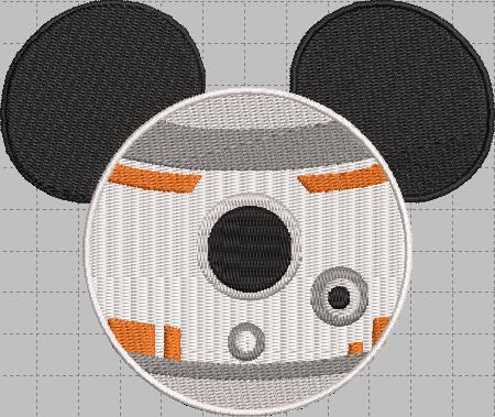 BB8 Mickey Head Digital Embroidery Design File