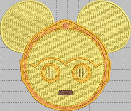 C3PO Mickey Head Digital Embroidery Design File