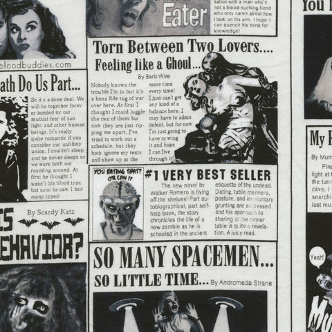 Zombie Newspaper Fabric