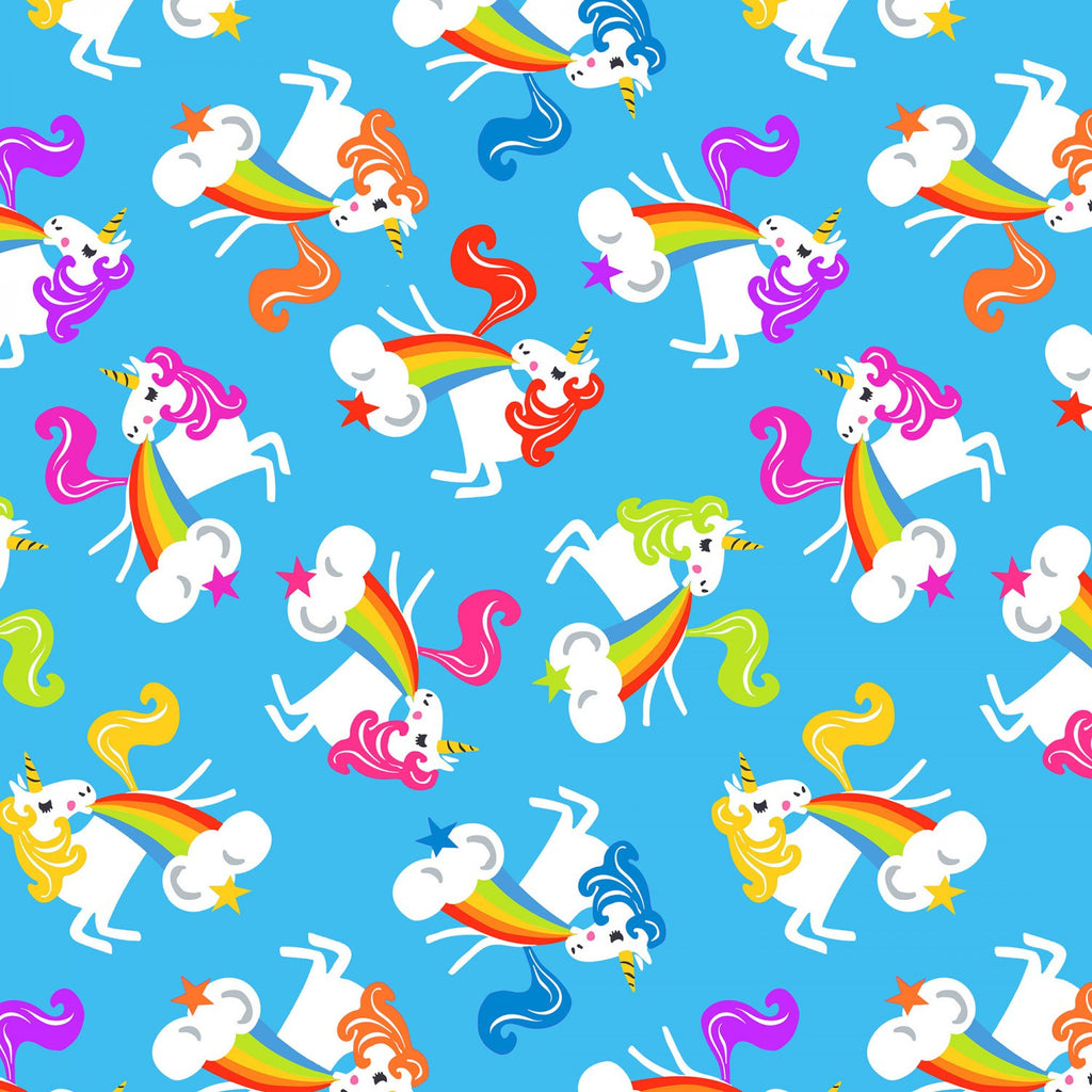 Aqua Unicorn Fabric