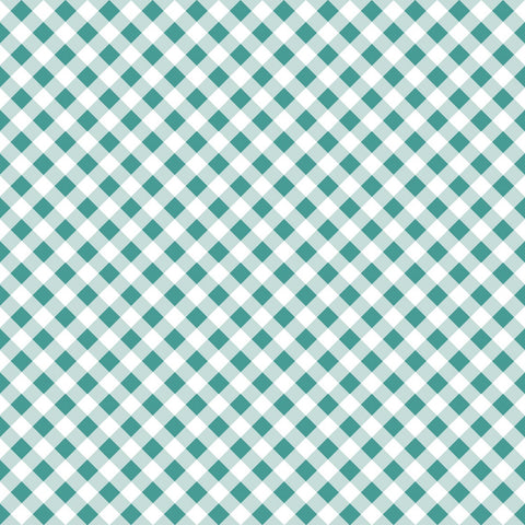 Wonderland Gingham Teal Fabric
