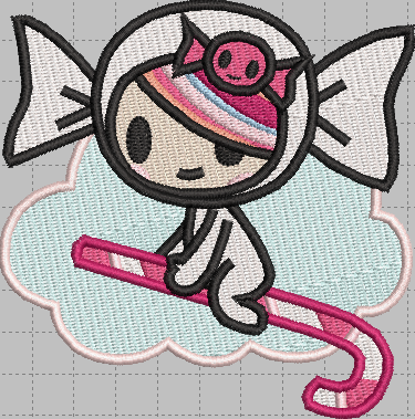 TokiDoki Candy Girl Digital Embroidery Design File