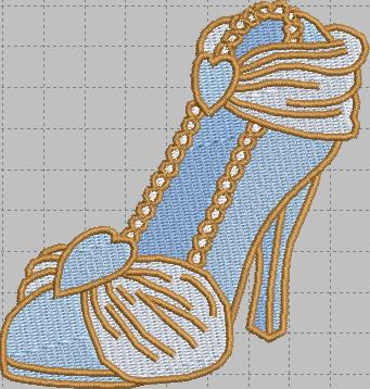 Cinderella Shoe Digital Embroidery Design File