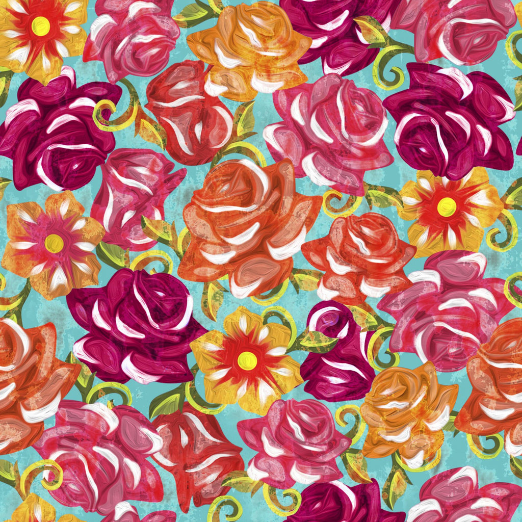 Colourful painted roses Fabric