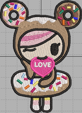 TokiDoki Donutella Love Digital Embroidery Design File