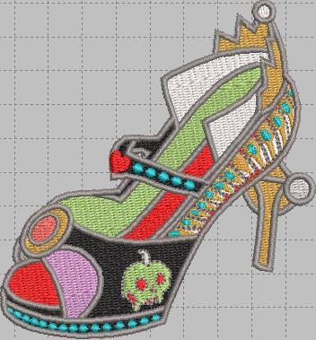 Evil Queen Shoe Digital Embroidery Design File