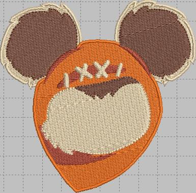 Ewok Mickey Head Digital Embroidery Design File