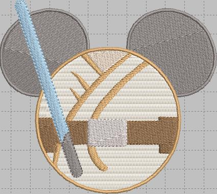 Jedi Mickey Head Digital Embroidery Design File