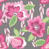 Pink and Grey Blossoms Knit Fabric
