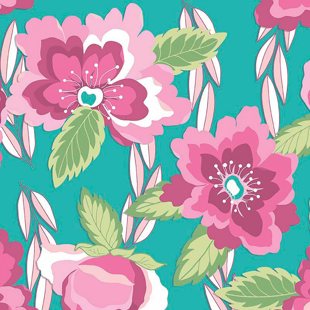 Pink and Teal Blossoms Knit Fabric