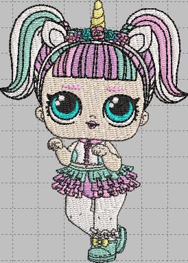 Unicorn LOL Doll Digital Embroidery Design File