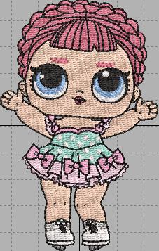 Skater LOL Doll Digital Embroidery Design File