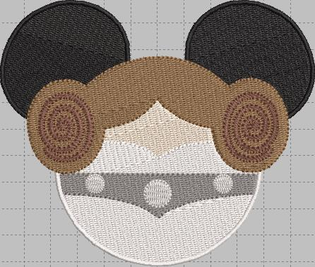 Princess Leia Mickey Head Digital Embroidery Design File