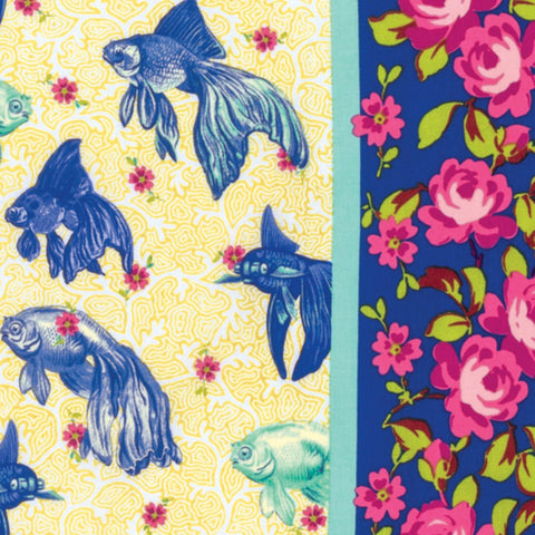 Blue Age of Aquarius Cotton Fabric