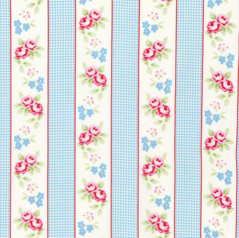 Blue Gingham Ticking Fabric
