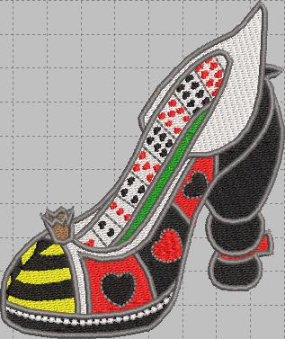 Queen of Hearts Shoe Digital Embroidery Design File