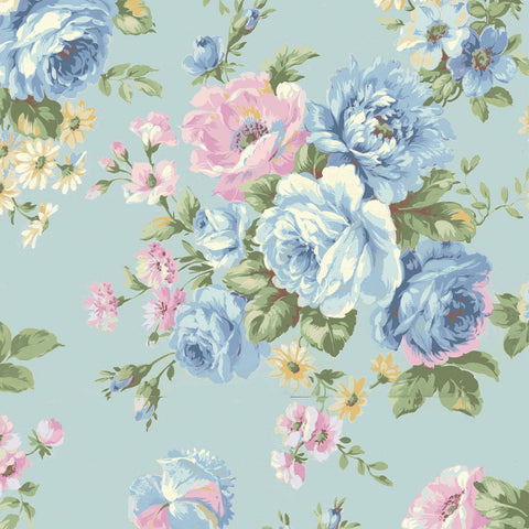 Love Rose Love Blue Fabric