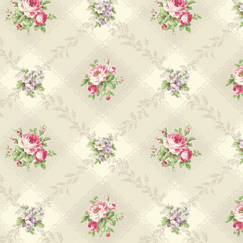 Love Rose Love Cream Diamond Gingham Fabric