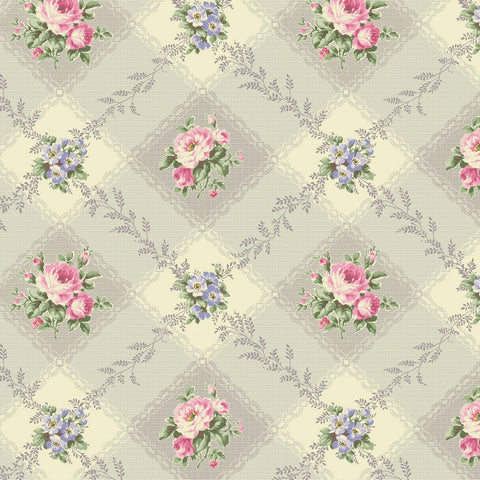 Love Rose Love Grey Diamond Gingham Fabric