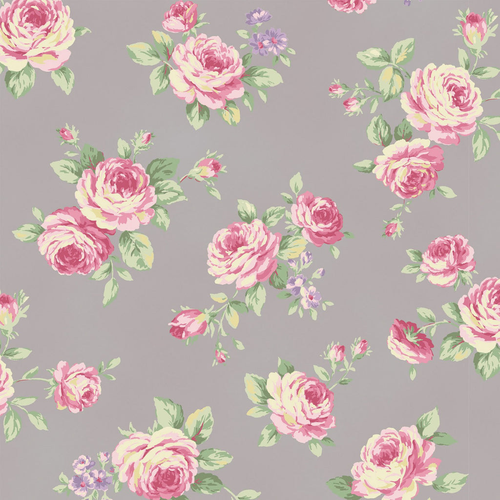 Love Rose Love Grey Small Rose Fabric