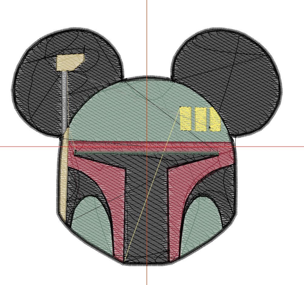 Bobba Fett Mickey Head Digital Embroidery Design File