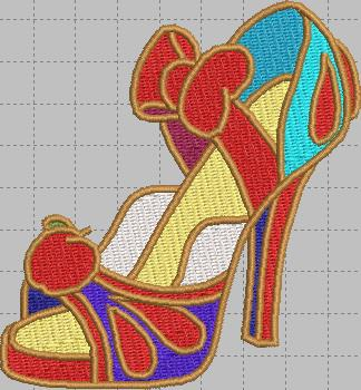 Snow White Shoe Digital Embroidery Design File