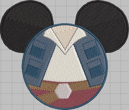 Han Solo Mickey Head Digital Embroidery Design File