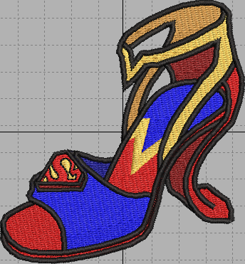 Super Girl Shoe Digital Embroidery Design File