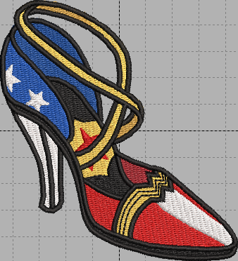 Wonder Woman Shoe Digital Embroidery Design File