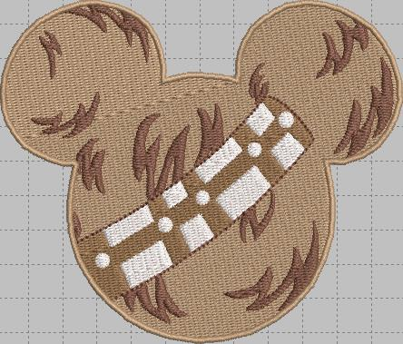 Wookie Mickey Head Digital Embroidery Design File