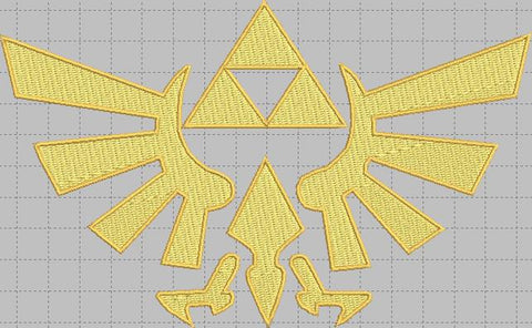 Zelda Triforce logo Digital Embroidery Design File