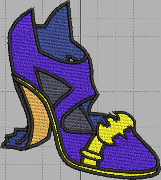 Bat Woman Shoe Digital Embroidery Design File