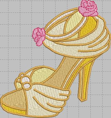 Belle Shoe Digital Embroidery Design File