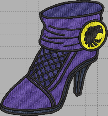 Black Canary Shoe Digital Embroidery Design File