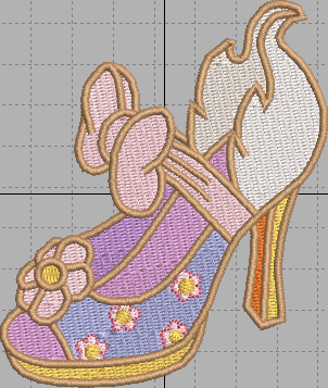 Daisy Duck Shoe Digital Embroidery Design File