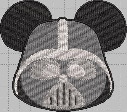 Darth Vader Mickey Head Digital Embroidery Design File