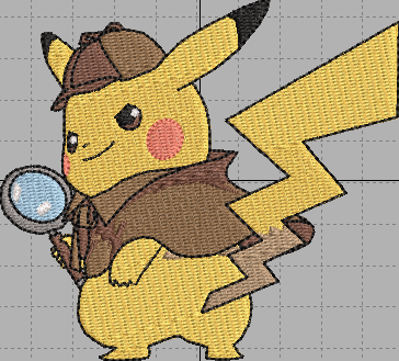Detective Pikachu Digital Embroidery Design File