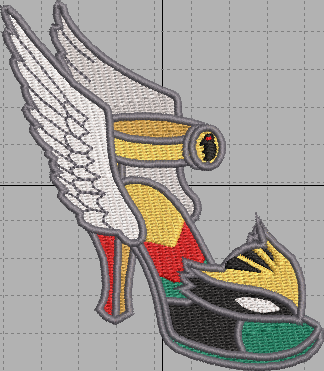 Hawk Girl Shoe Digital Embroidery Design File